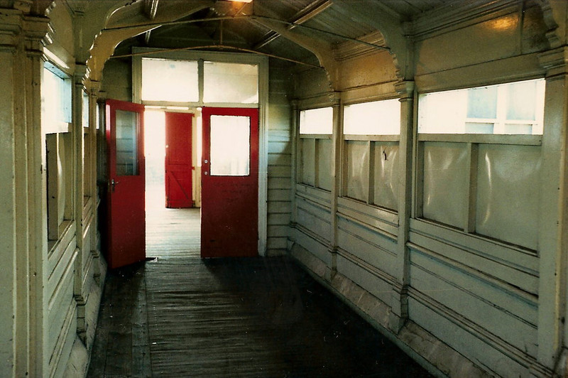 The view from inside Wolverton station looking out towards the ticket office and main entrance on 25 October 1987.