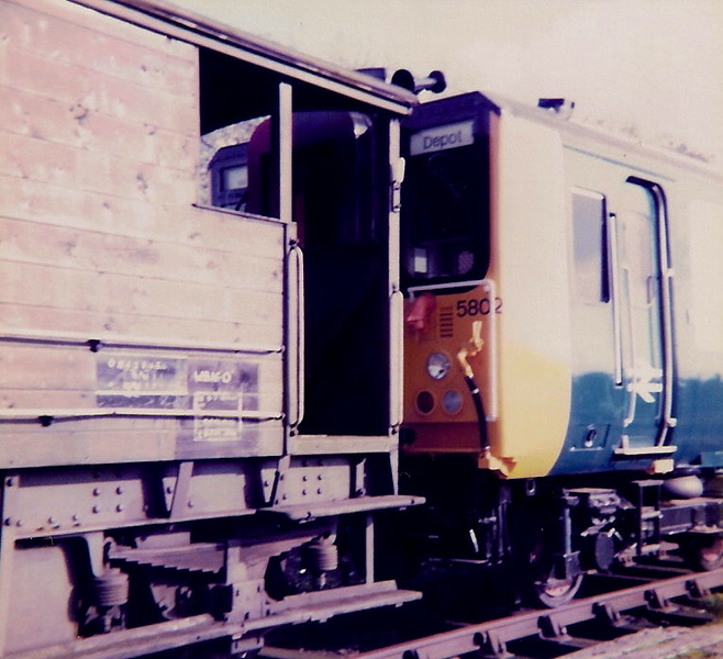 The class 455 units were built at York Works between 1982 - 1984. The first twenty units 5801 - 5820 all received modifications at Wolverton Works en route to the Southern Region. Here 5802 is seen stabled on Haversham Bank on 27 October 1982.