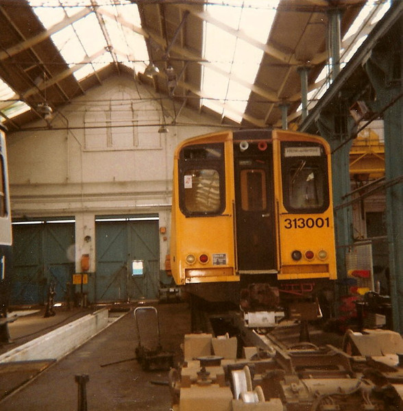 'Mickey mouse' 313001 under repair on show at the works open day on 17 August 1985.