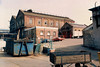 From inside the works looking 'up the slope' towards the main gate with the works canteen and LNWR fire station prominent. 17 April 1987.