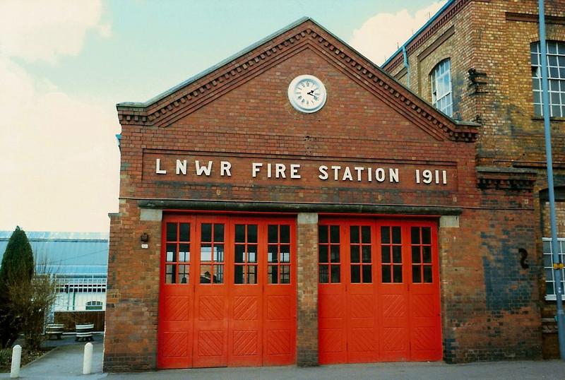 The front of the LNWR 1911 Fire Station which will celebrate its centenary this year in 2011. Taken on 5 April 1987.