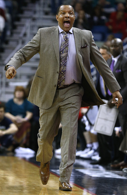 . New Orleans Pelicans coach Alvin Gentry reacts during the second half of an NBA basketball game against the Minnesota Timberwolves on Tuesday, Jan. 19, 2016, in New Orleans. The Pelicans won 114-99. (AP Photo/Jonathan Bachman)