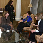 Guests mingle at the Women 4 Women\'s Champion Campaign reception and grant selection.