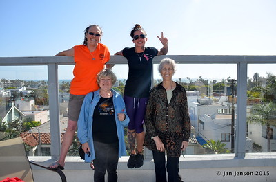 Julie Lynn Baugh and Candace Shepard on top. Julia Gilmore and Jan Jenson - on the upper balcony of Julia's condo building.  That IS the Pacific ocean in the background!