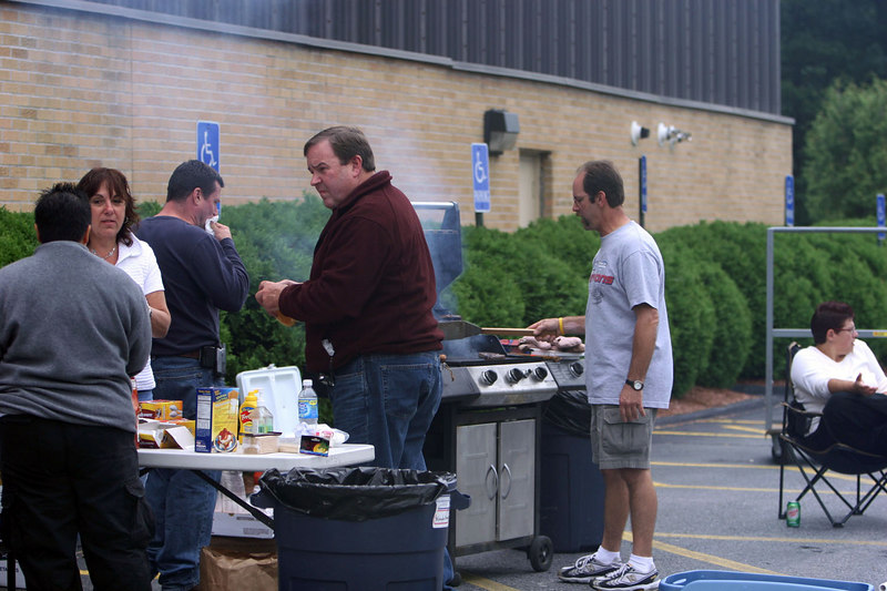 BBQ was not interupted on Sunday, just a little rain.