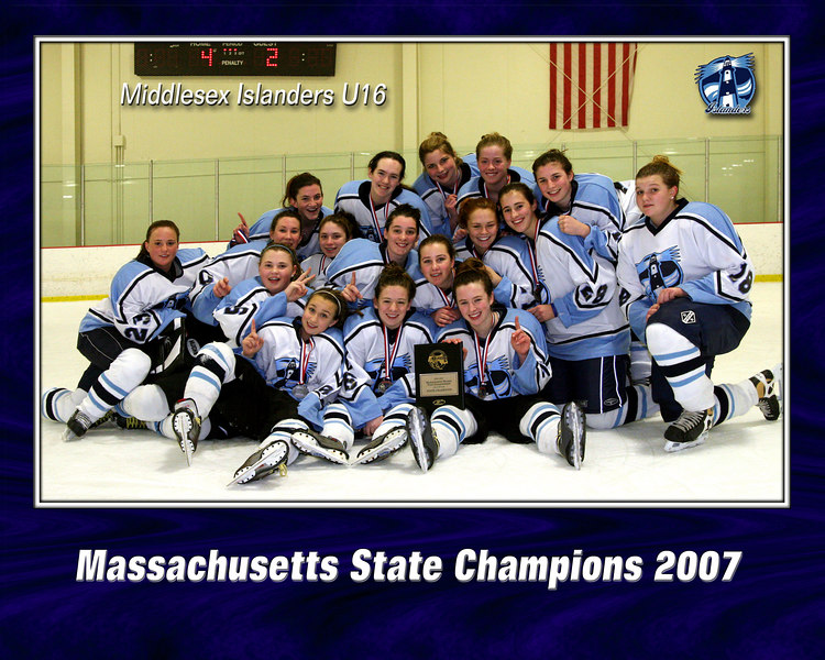 U16 Islanders Capture the 2007 Non-National Bound State Championships on a Snowy Weekend of March 16-18.<br /> <br /> South Shore Lady Hawks 2-0<br /> Bay State Breakers 1-0 F<br /> Night Hawks 8-0<br /> Lady Flames 4-2