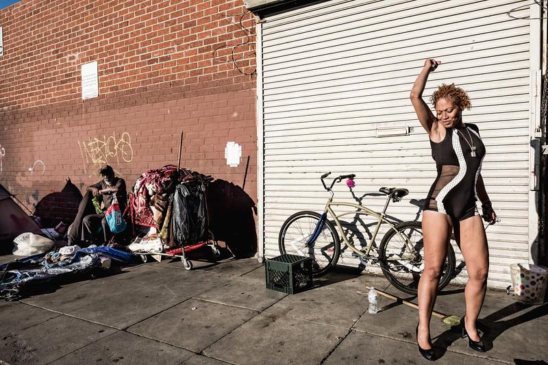 Victoria dances on 6th Street near Towne Avenue