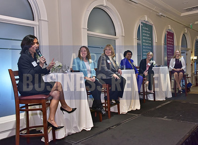 Moderator Sujata Chaudhry, president and CEO of Tangible Development, left, Lisa Avila, CEO of Kitware; Sheila Barkevich, senior vice president of Callanan Industries; Mary Cheeks, general manager of Rivers Casino & Resort Schenectady; Miriam Dushane, managing director, upstate New York for Linium Recruiting and Emily Reilly, senior director, human resources of GlobalFoundries