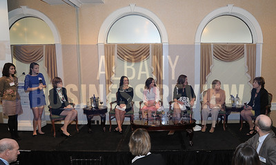 10-2-2014, Women Who Mean Business. honorees; Barbara Downs, CDPHP; Kim Fine, Albany Medical Center; Tracy Metzger, TL Metzger & Associates; Laura Schweitzer, Union Graduate College; Nancy Trimbur, Stewart's Shops