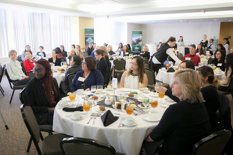 GMU Women in Business, etiquette lunch discussion, Georges, Johnson Center, Wednesday, March 22, 2017.  John Boal Photography