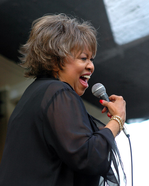Mavis Staples performs her second set of the day at the Garden Stage of the Monterey Jazz Festival, 9-17-05.