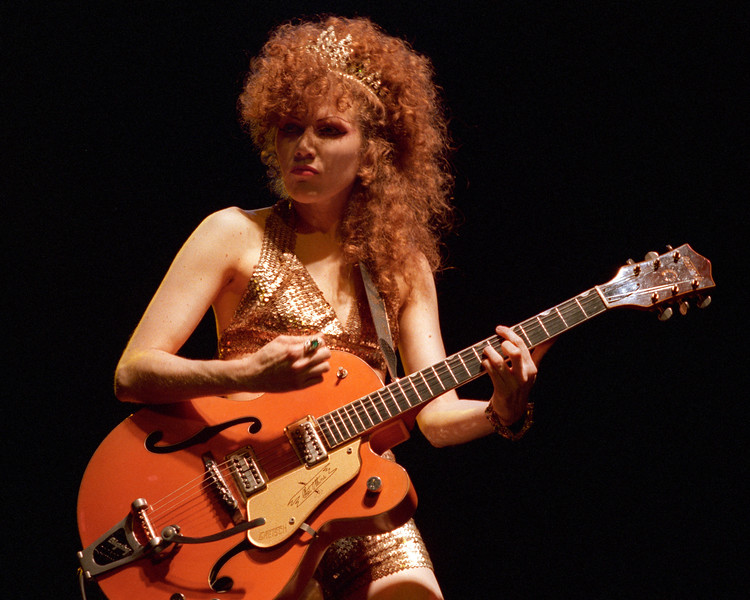 Poison Ivy performs with the Cramps at the Warfield Theater in San Francisco in June 1990.