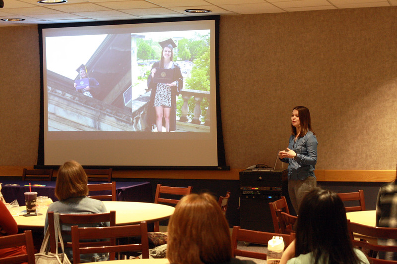 2018 alumna Sarah Lamm talks about her K-State experience at the Women of K-State's Lunch and Learn event on March 28 in the Student Union. Lamm earned three bachelor's degrees at K-State, and she now works with an instrument on the Curiosity Mars rover. (Dene Dryden | Collegian Media Group)