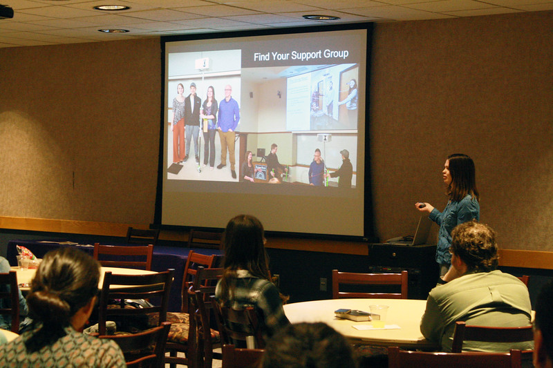 Alumna Sarah Lamm talks about her career path at the Women of K-State's Lunch and Learn event on March 28 in the Student Union. She imparted wisdom for current and future K-State students, including the advice to build a support group. (Dene Dryden | Collegian Media Group)