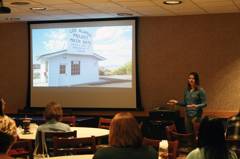 Alumna Sarah Lamm talks about her career path at the Women of K-State's Lunch and Learn event on March 28 in the Student Union. She had three summer internships (2016-2018) at the Los Alamos National Laboratory, which focused on the ChemCam instrument installed on the Curiosity rover. (Dene Dryden | Collegian Media Group)