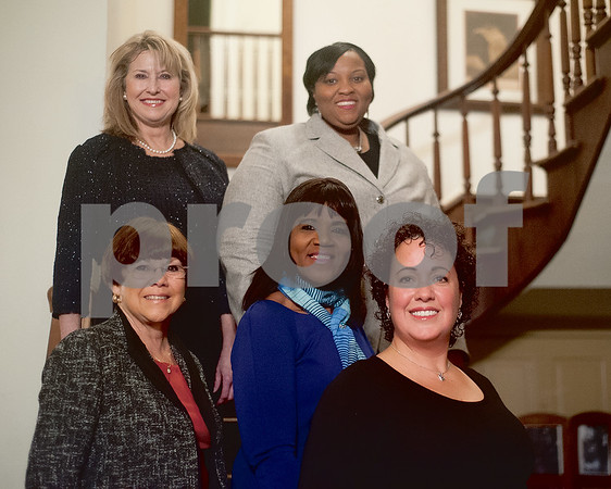 The 2015 honorees for the upcoming Women in Tyler luncheon pose during a reception held at the McClendon House on Monday evening. Top row (L to R): Ruth Flynn and Alesha Williams. Bottom row (L to R): Phyllis Tindell, Debbie Broughton and Carmen Sosa. (Not pictured: Peaches Owens) (Victor Texcucano/Staff)