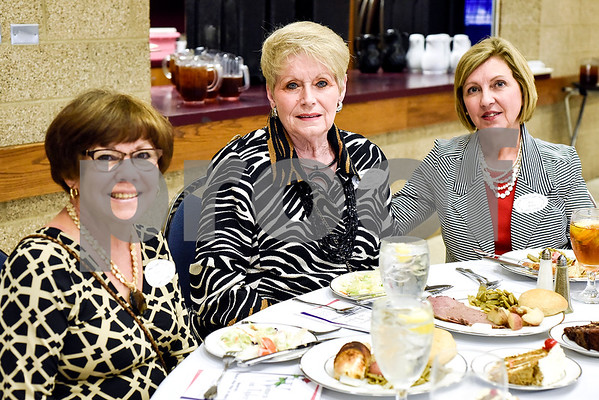Phyllis Tindel, Polly Pickle and Rose Martin pose for a photo during the Women in Tyler Luncheon at the Tyler Rose Garden Center in Tyler, Texas, on Thursday, March 23, 2017. The Women in Tyler Planning Committee honored six women who have made an impact in the community. (Chelsea Purgahn/Tyler Morning Telegraph)