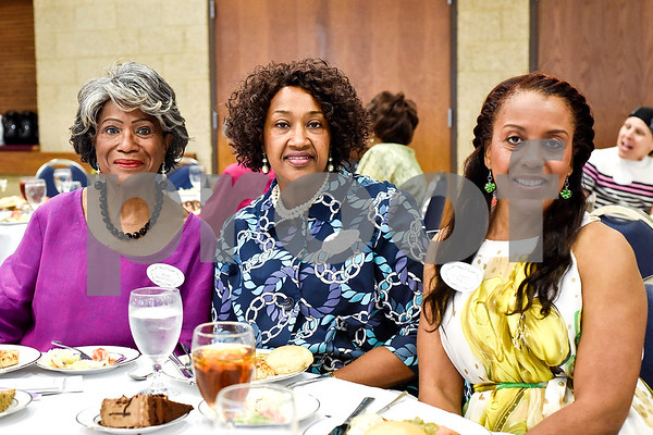 Beverly Beavers-Brooks, Beverly Russell-Pasley and Sharon Anderson pose for a photo during the Women in Tyler Luncheon at the Tyler Rose Garden Center in Tyler, Texas, on Thursday, March 23, 2017. The Women in Tyler Planning Committee honored six women who have made an impact in the community. (Chelsea Purgahn/Tyler Morning Telegraph)