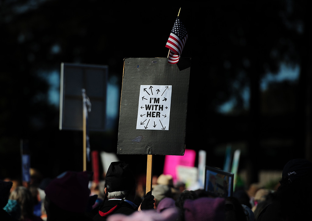 . (CHRIS RILEY �Times-Herald) A sign shows support during the women\'s rally in the Napa Valley Expo on Saturday.