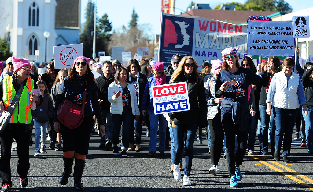. (CHRIS RILEY �Times-Herald) Thousands took to the streets of Napa on Saturday for the Napa Valley Woman\'s March.