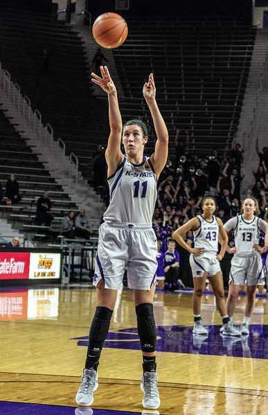 Junior forward, Peyton Williams, shoots a free throw at the K-State versus West Virginia game on Feb. 27 at Bramlage Coliseum. The Wildcats defeated the Mountaineers 90-79. (Brooke Barrett | Collegian Media Group)