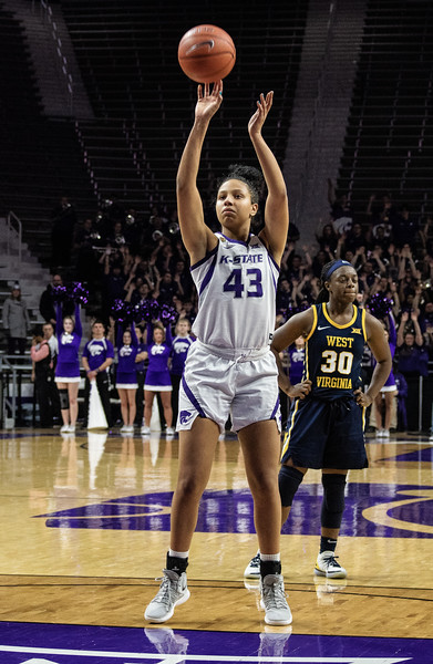 Freshman guard,  Christinna Carr, precisely shoots her free throw at the K-State versus West Virginia game on Feb. 27 at Bramlage Coliseum. The Wildcats defeated the Mountaineers 90-79. (Brooke Barrett | Collegian Media Group)