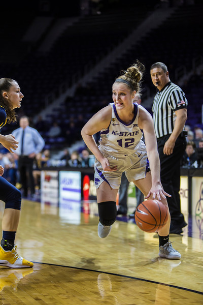 Sophomore guard Rachel Ranke charges the basket during K-State's women's basketball game against WVU in Bramlage Coliseum on Feb. 27, 2019. The Wildcats took the Mountaineers 90-79. (Logan Wassall | Collegian Media Group)