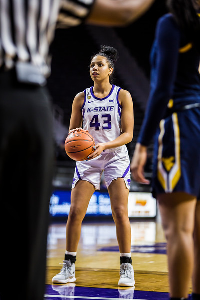 Freshman guard Christinna Carr prepares to shoot a free throw during K-State's women's basketball game against WVU in Bramlage Coliseum on Feb. 27, 2019. The Wildcats took the Mountaineers 90-79. (Logan Wassall | Collegian Media Group)