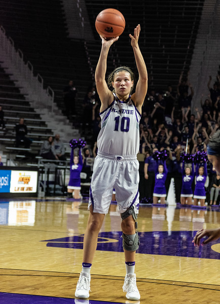 Senior guard, Kayla Goth,  shoots a free throw during the K-State versus West Virginia game on Feb. 27 at Bramlage Coliseum. The Wildcats defeated the Mountaineers 90-79. (Brooke Barrett | Collegian Media Group)