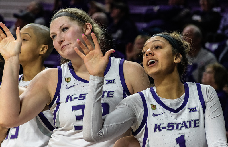 Sophomore center, Ashley Ray, and freshman guard, Savannah Simmons, celebrate a play during the K-State versus West Virginia game on Feb. 27 at Bramlage Coliseum. The Wildcats defeated the Mountaineers 90-79. (Brooke Barrett | Collegian Media Group)