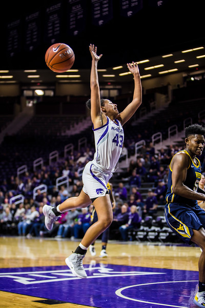 Freshman guard Christinna Carr gets the ball stripped during K-State's women's basketball game against WVU in Bramlage Coliseum on Feb. 27, 2019. The Wildcats took the Mountaineers 90-79. (Logan Wassall | Collegian Media Group)