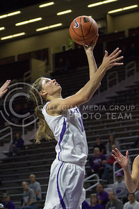 Sophomore guard Kayla Goth shoots a layup at the K-State game against Newman in Bramlage Coliseum on Nov. 7, 2016. (Maddie Domnick | The Collegian)