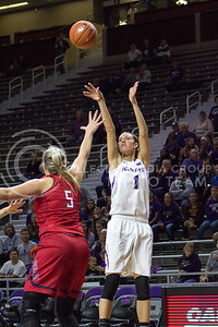 Junior forward Kaylee Page shoots the ball at the K-State game against Newman in Bramlage Coliseum on Nov. 7, 2016. (Maddie Domnick | The Collegian)