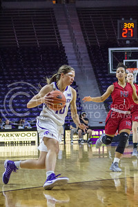 Sophomore guard Kayla Goth dribbles the ball at the K-State game against Newman in Bramlage Coliseum on Nov. 7, 2016. (Maddie Domnick | The Collegian)