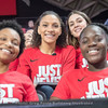 Gabby Connally and Stephanie Paul (front row) – Mackenzie Engram and Simone Costa (back row) – NCAA tournament selection show – March 12, 2018