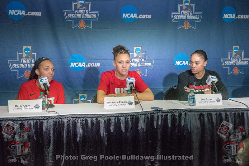 Haley Clark, Mackenzie Engram and Joni Taylor Meet the Press Friday, March 16, 2008 – 2018 NCAA women's basketball tournament round one