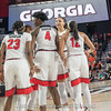 Que Morrison, Caliya Robinson, Haley Clark, Mackenzie Engram and Gabby Connally during a timeout – 2018 NCAA women's basketball tournament, round one – March 17, 2018