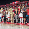 Mackenzie Engram, Simone Costa and Haley Clark get hugs from the bench late in the 4th quarter - Georgia vs. Florida – February 25, 2018