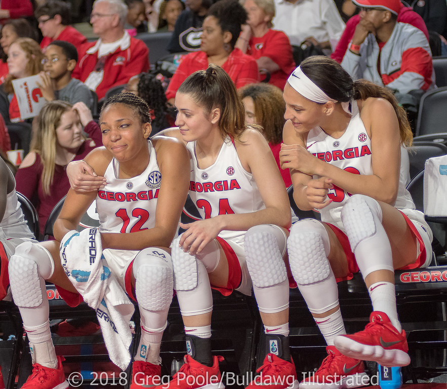 Haley Clark (L), Simone Costa (C) and Mackenzie Engram (R) as their final home game nears its end - Georgia vs. Florida – February 25, 2018