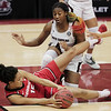 Georgia Lady Bulldogs center Maori Davenport (15) attempts to recover the ball at Colonial Life Arena on Thursday, January 21, 2021.