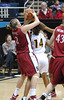 Stanford's Jayne Appel and Cal's Keanna Levy battle for the ball