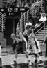 Sophmore Devanei Hampton guards Freshman Jayne Appel