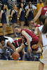 Stanford's JJ Hones and Cal's Natasha Vital fight over a loose ball
