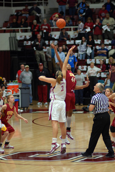 Stanford's Jayne Appel and USC's Nadia Parker start the game off
