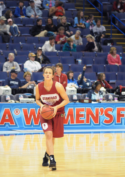 Stanford Senior Jillian Harmon at the Final Four open Practice at the Scottrade Center in St Louis