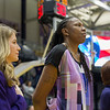 Coach Mac standing during the national anthem with Asst. Coach Yolanda Griffith and Mayor Sheehan.