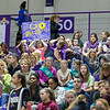 Mighty rooting section of Girl Scouts, hosted by Great Danes, offers support.