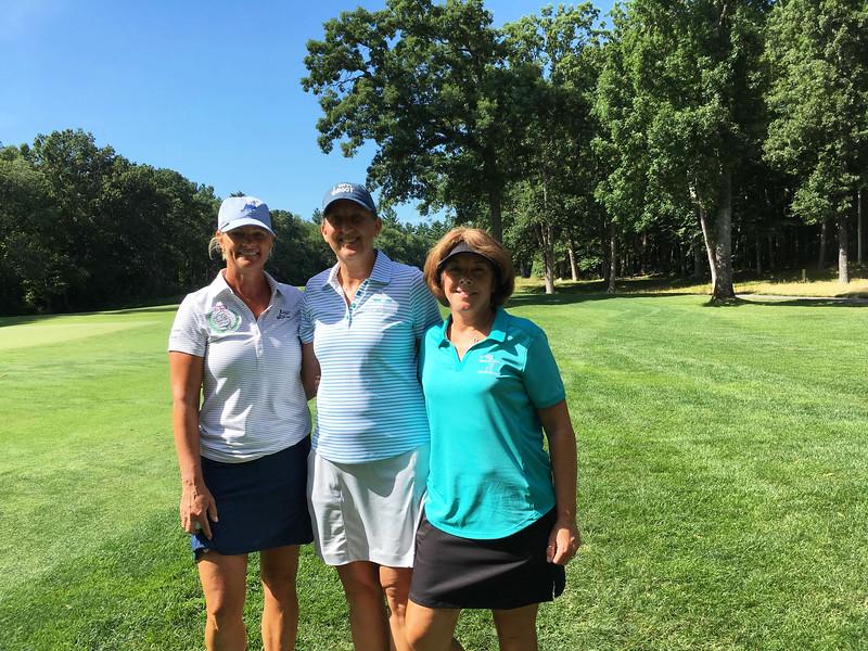 From left, golfers Cheryl Popp of Westford, and Kristin Rydzewski and Linda Hill, both of Chelmsford