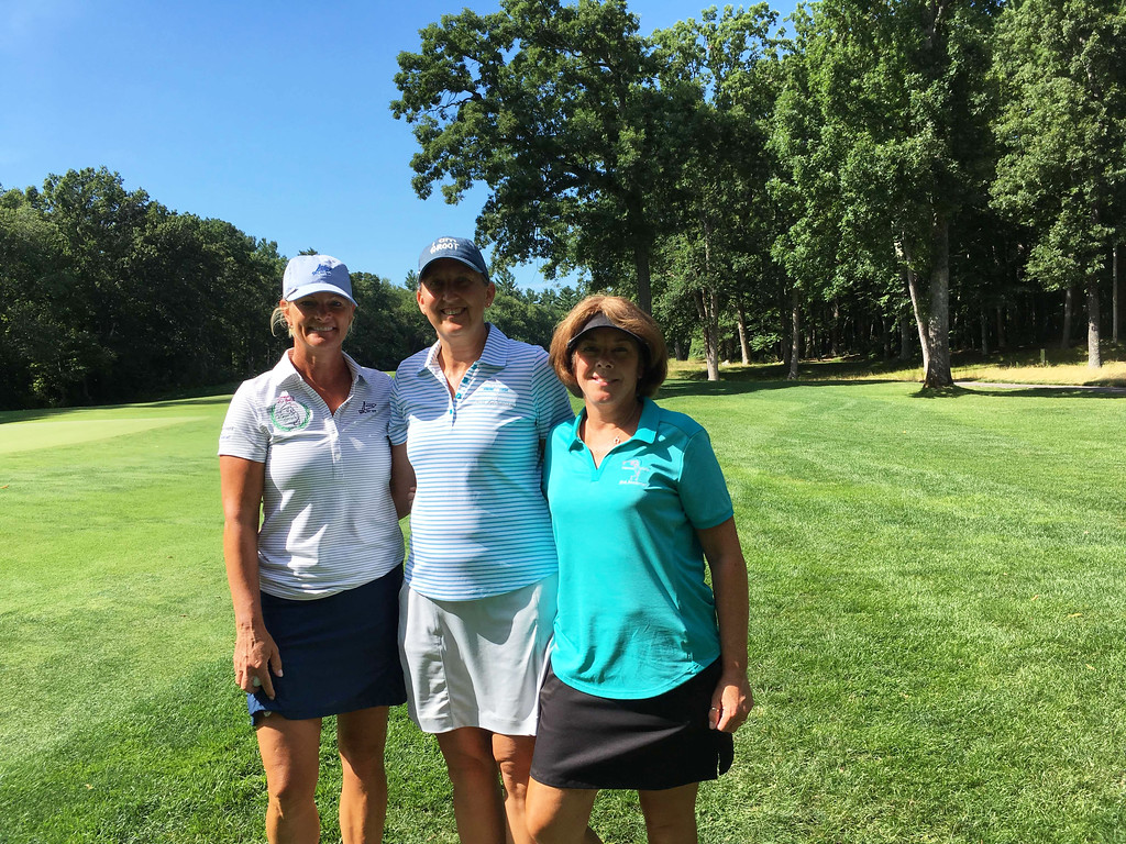 . From left, golfers Cheryl Popp of Westford, and Kristin Rydzewski and Linda Hill, both of Chelmsford
