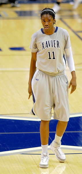 Xavier forward Amber Harris (11).  (#4) Xavier defeated USC Trojans 69 - 66 at the Cintas Center in Cincinnati, Ohio.